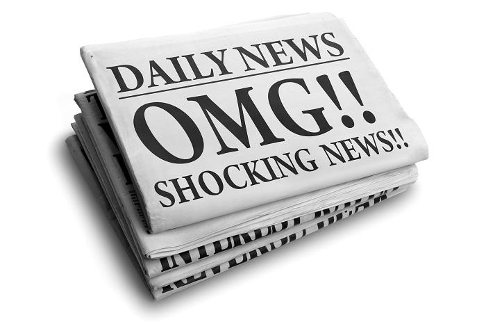 Daily news newspaper headline reading OMG shocking news concept for astonishing news