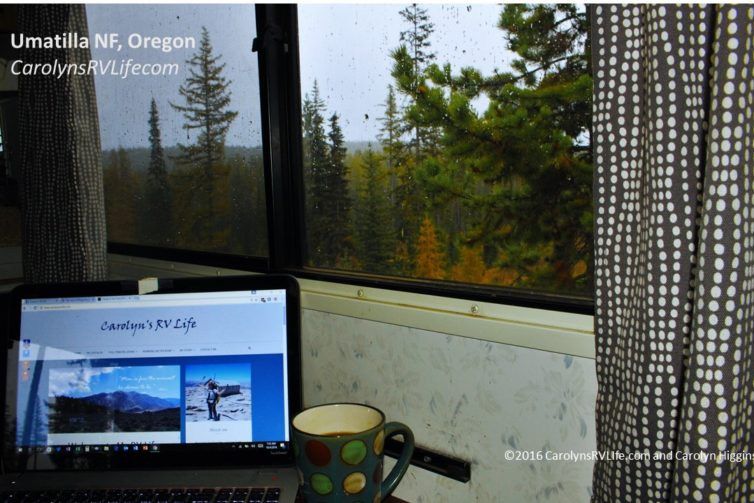 working on a rainy day in an RV in Oregon